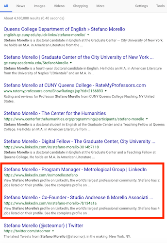 Google Query for Stefano Morello