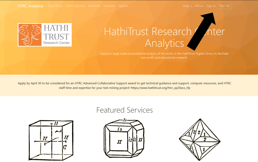 Screenshot showing the sign up/login button in the HathiTrust Research Center