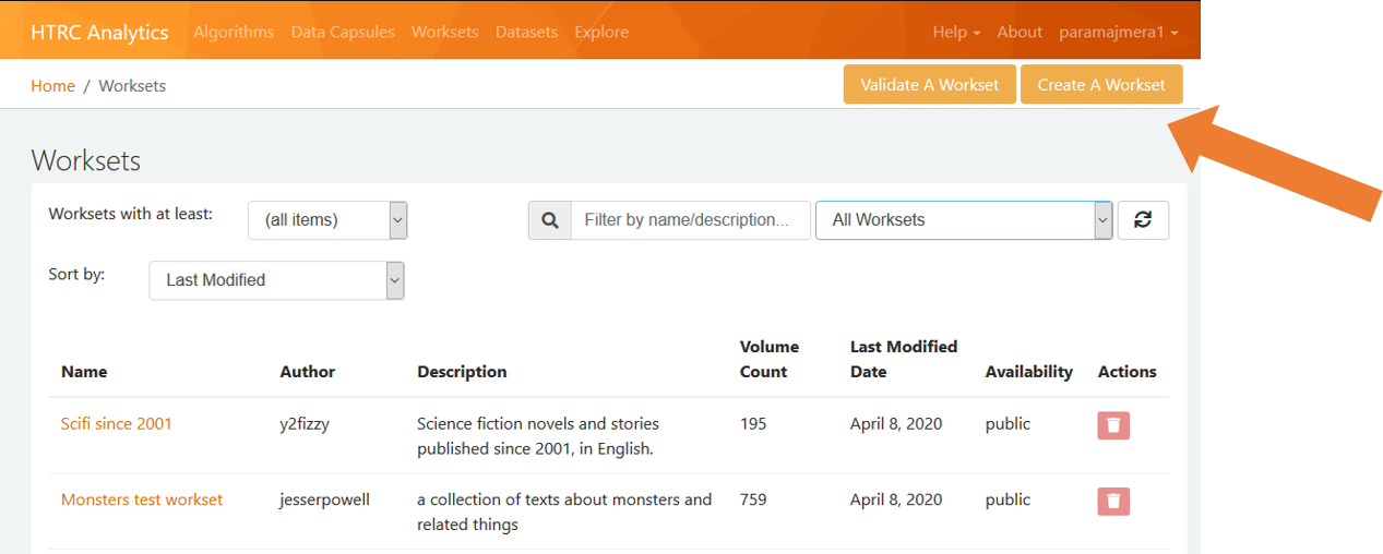 """Screenshot showing location of """"Create A Workset"""" link in the Worksets page."""
