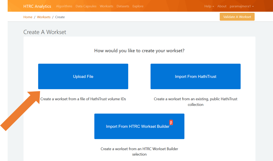"""Screenshot showing the """"upload file"""" option in the workset creation process."""