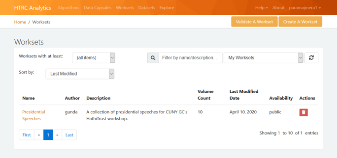 Screenshot showing how to view your workset after it has been created.