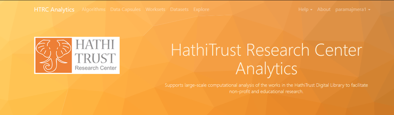 Screenshot showing the location of the Algorithms link in the HathiTrust Research Center's homepage.